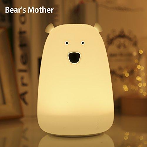 Lumière De Nuit Pour Enfants S & G Soft Silicone Colorful Bear Touch Dimmable à Proximité De Lampes Avec USB Rechargeable, Sensitive Tap Control Lampe Veilleuse Gift for Kids Chambre (Mère d'ours)