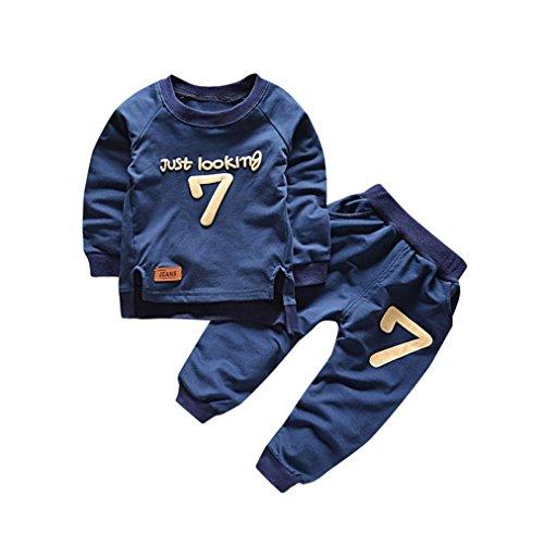 Bekleidung Longra Baby Kinderkleidung Anzüge für Jungen Mädchen Brief Langarm Shirt Oberseiten + Hosen-Ausstattungen Baby 2018 Sweatshirt Babykleidung Set (0-4Jahre) (110CM 3Jahre, Navy) (Toddler Navy Bekleidung)