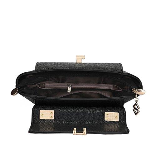 DISSA ES826 neuer Stil PU Leder Deman 2018 Mode Schultertaschen handtaschen Henkeltaschen,280×120×170(mm) Schwarz