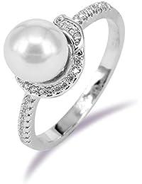 541e5fe96c12 BiBeary Mujer Cristal Perla simulada Hoja conformado conformado elegante  Anillo Plata-Tono Tamaño 14