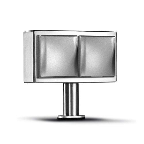 THEBO-Licht Kochinselsteckdose KI-ST/2 KLD aus Edelstahl mit zwei waagerechten Anschlüssen mit Klappdeckel / Inselsteckdosen / Edelstahl-Inselsteckdose / Steckdosen -
