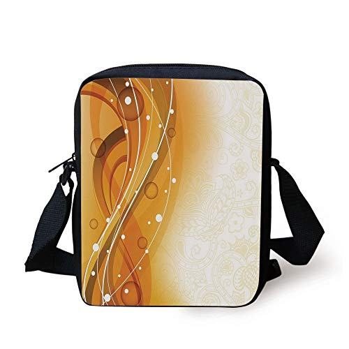 LULABE Orange,Abstract Curves of Color with Bubble Like Dots Simple Floral Artistic Decorative,Orange Dark Green White Print Kids Crossbody Messenger Bag Purse - Floral Print Bubble
