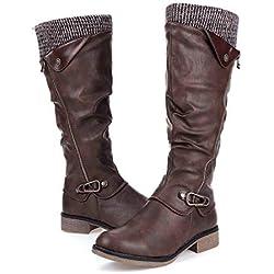 gracosy Botas de Mujer Otoño Invierno 2019 Tacon Bajo Zapatos Largas Botas Forrado de Piel Antideslizante Cómodo Cremallera Hebilla,Negro Marrón Gris