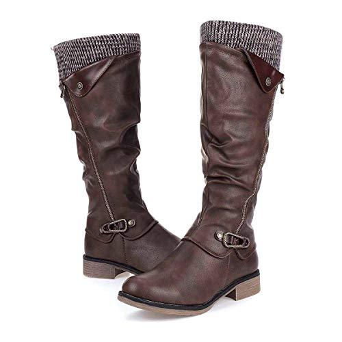 Gracosy Botas de Mujer Otoño Invierno 2019 Tacon Bajo Zapatos Largas Botas Forrado de Piel Antideslizante...