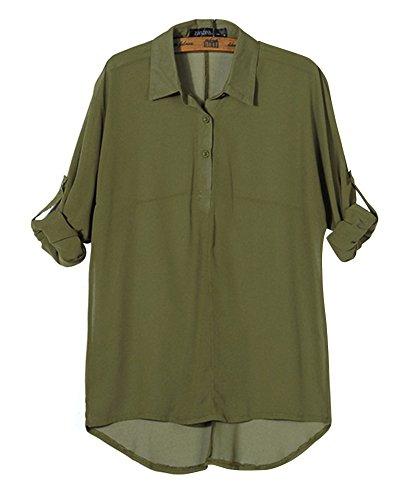 Femme Manche Longue Revers Collier Classique Bouton Couleur Unie Chemise Vert Armée