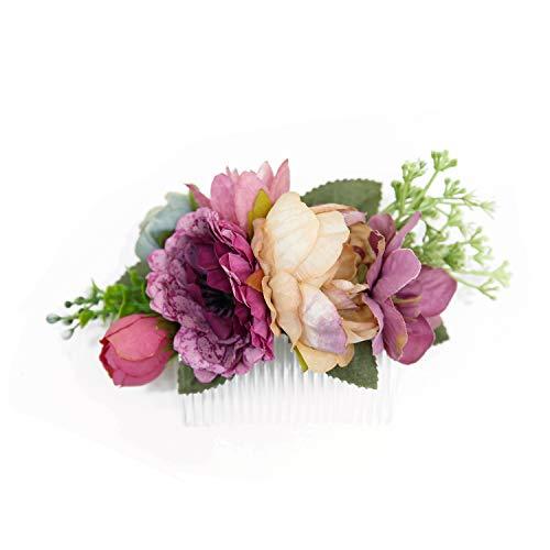 Ever Fairy Handarbeit Mode Blume Haarkamm für Frauen Mädchen Brautjungfer Kleid Kamm Satin Kamm Zubehör (B)
