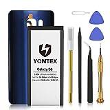 YONTEX Galaxy S6 Batería con Contraportada de Vidrio de Repuesto de Azul y Kits de Herramientas de...