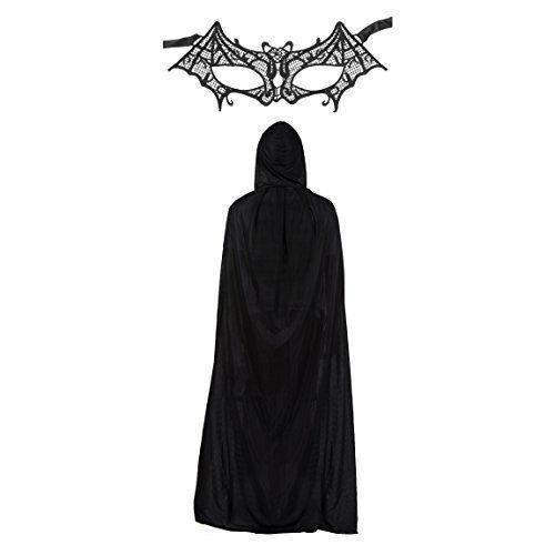 Damen Spitze Batman Batwomen Maske & Umhang Modisches Kostüm-set (Fledermaus Maske Kostüm)