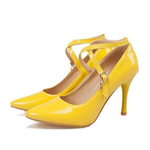 AllhqFashion Femme Boucle Pu Cuir Pointu à Talon Haut Couleur Unie Chaussures Légeres Jaune