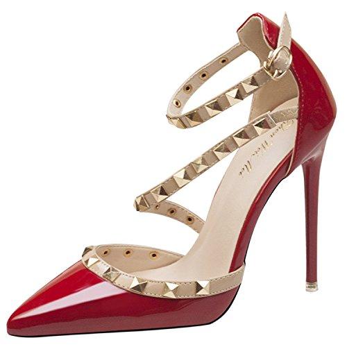 Oasap Damen Stilvolle Mit Nieten Pfennigsabs盲tzen Schuhe Red-1