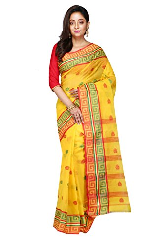 Madhushree Yellow & Red Handloom Cotton Tant Saree, Traditional Bengali Wear