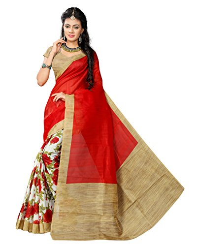 Bhoomi Export cotton silk saree in Red colour for women | Gift...