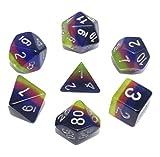 Flexble DND Polyhedralwürfel Set Durchsichtige Neon Würfel für Dungeons und Drachen (D & D) Pathfinder RPG MTG Mathe Rollenspiel Brettspiele Tischspiele