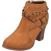 Kinlene Invierno Ofertas Remache Cabeza Redonda Hebilla Cuadrada Hebilla tacón Grueso Botines de Mujer Cordones Antideslizantes tacón Grueso Knight Martin Boots Zapatos Mujer Plataforma