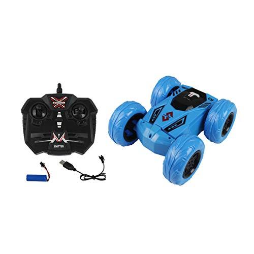 Stunt RC Auto 2,4G Musik Licht Geländewagen 360 Grad Drehen Fernbedienung Stunt Crawler Auto Kinder Spielzeug Geschenke (Farbe: Blau) -