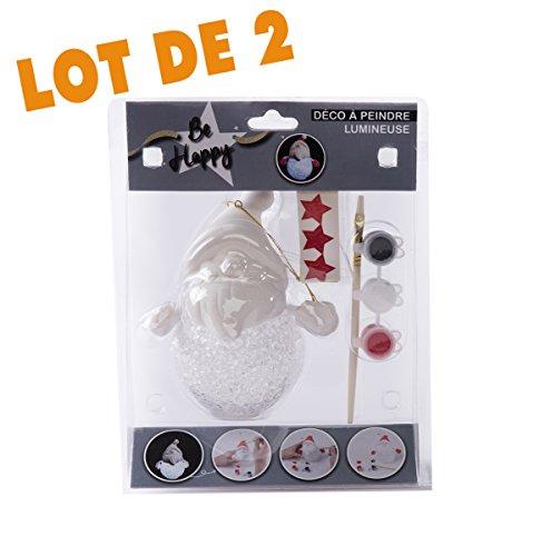 Wedestock Lot DE 2 Boules Lumineuses LED Père Noël à Peindre soi-Même