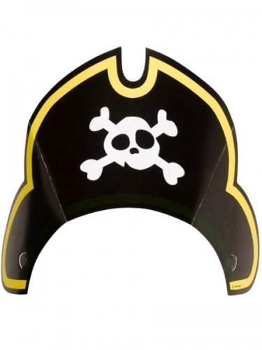 8 x Piraten-Hut Papierhut Party-Hütchen einseitig Kostüm (Masken Papier Piraten)