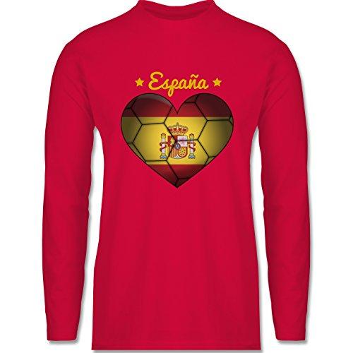 Handball - Handballherz Spanien - Longsleeve / langärmeliges T-Shirt für Herren Rot