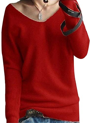 LinyXin Cashmere Damen Winter Kaschmir übergroße Pullover lose V-Neck Fledermausärmel Warm Gestrickter Oversize Pullover aus Wolle (S / 38-44, Rot)