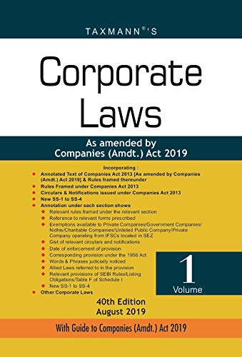 Corporate Laws-As Amended by Companies (Amdt.) Act 2019 (Paperback Pocket Edition) (Set of 2 Volumes) (40th Edition August 2019)