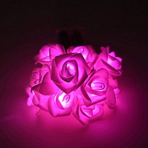 Lanspo 10 LED Rose Licht Kette Gemütliche String Fairy Lichter Warm Weiße Batterie Betrieben Für Schlafzimmer Weihnachten Hochzeit Party Dekor (Rosa)