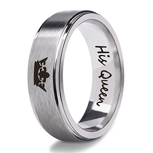 Silber His Queen Edelstahl Ringe für Frauen Mädchen 6mm Titan Band Frauen Mode Ringe