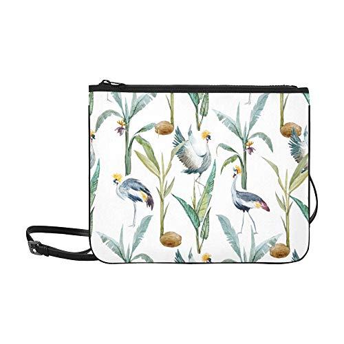 EIJODNL African Crowned Crane And Red Heads Crane Pattern Benutzerdefinierte hochwertige Nylon Slim Clutch Bag Cross-Body Bag Umhängetasche (Cranes Crest)