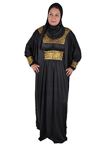 Egypt Bazar Zweiteiliger Isdal Abaya und Kopftuch mit arabischer Kalligrafie, schwarz (48-66...