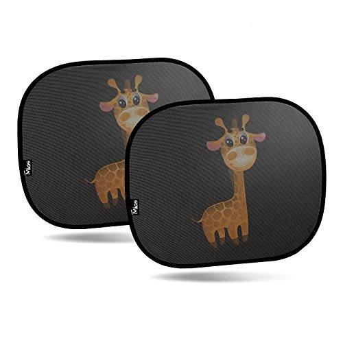 Preisvergleich Produktbild Mias 2er-Pack Sonnenblenden für Autoscheiben, mit niedlichem Giraffenmotiv, 43 x 35,5 cm - Sonnenschutz für Kinder / Baby / Seitenscheiben -
