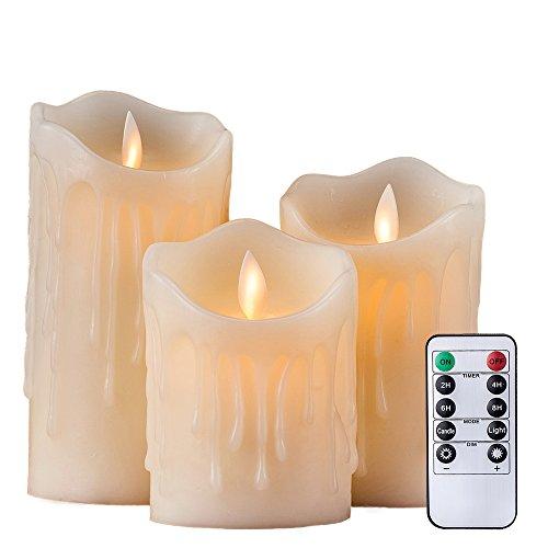 """Air Zuker 3er LED Flammenlose Kerzen Tropfenförmige batteriebetriebene Kerzen Säule Echtwachskerzen mit Timer und 10 Tasten Fernbedienung, höhe 4 """"5"""" 6 """" für Dekorations zB. Party, Hochzeit, Tisch"""