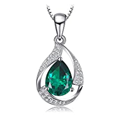 Idea Regalo - JewelryPalace Pera 2.7ct Artificiale Verde Nano Russo Smeraldo Ciondolo Collana con Pendente 925 Argento Sterling 45cm