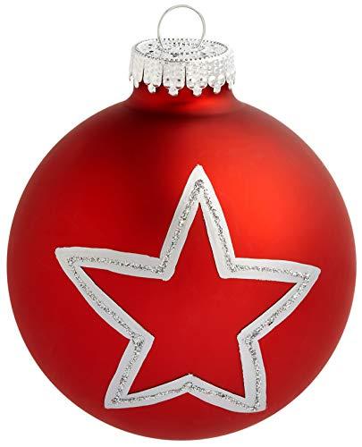 HEITMANN DECO Krebs & Sohn 12er Set Glas Christbaumkugeln - Weihnachtsbaum Deko zum Aufhängen - Weihnachtskugeln 8 cm - Rot Sterne