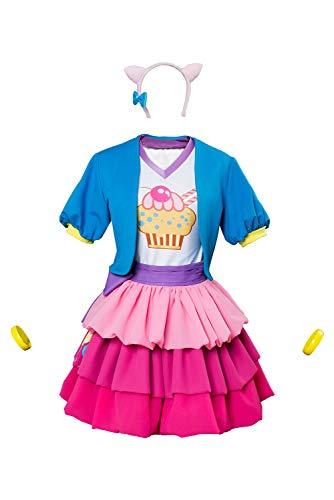 MingoTor Anime Pinkie Pie Kleid Cosplay Kostüm Rosa Damen S (Erwachsene Pie Pinkie)
