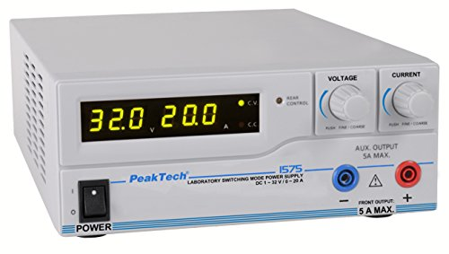 PeakTech 1575 – Labornetzgerät DC 1-32V / 0-20A mit USB, LED-Anzeige, DC-Schaltnetzteile, Stromversorgung, 3 benutzerdefinierte Voreinstellungen für Messwerte, Überlastungsschutz - 200~240 V AC