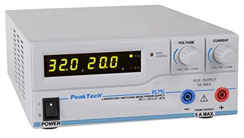 PeakTech programmierbares DC Labornetzgerät 1 - 32 V / 0 - 20 A mit USB, 1 Stück, P 1575