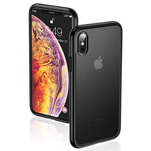 Humixx iPhone Xs/X Hülle,Scrub Matte Transluzent Rückenschale mit TPU Weiche Stoßstange Schutzhülle,Anti-Kratzen,Anti-Rutsch,Anti-Fingerabdruck,Anti-Fall,Handyhülle für Apple iPhone Xs/X(5.8)-Schwarz