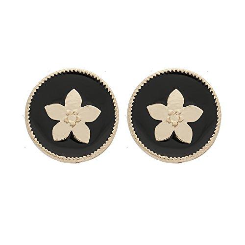 rimchen Ohrstecker Modeschmuck rund Blume Farbe: Schwarz Gold