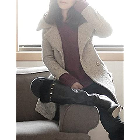 Le donne la solida cappotto grigio , Informale di Lavoro / manicotto lungo Tweed / Fur / Poliestere,grigio, L