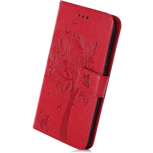 Herbests Kompatibel mit Huawei Mate 20 X Leder Handyhülle Flipcase Katze Blumen Bookstyle Schutzhülle Stoßfest Kratzfest Leder Tasche Flip Wallet Case Ständer Kartenfächer Magnet, Rot