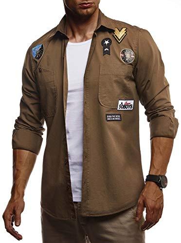 LEIF NELSON Herren Hemd Freizeithemd T-Shirt Langarm 100% Baumwolle | Männer Langarmshirt Oversize Jeanshemd | Jungen Basic Shirt Kurzarmshirt Jeansjacke Sommerhemd | LN3845 Khaki Large