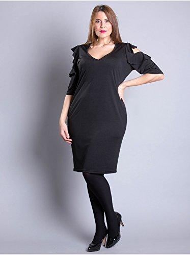 Vêtement Femme Grande Taille Robe Volant Noir Noir