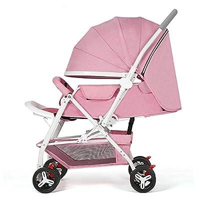 Yhz@ Cochecito de bebé Ligero Portable High Landscape Puede Sentarse y acostarse Plegable Simple Handle Reversible Suspension Neonatal Buggy Baby Trolley Sillas de Paseo