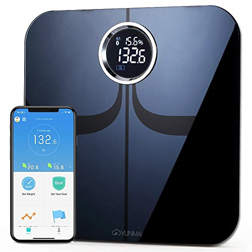 YUNMAI Premium Bilancia Pesa Persona Digitale Bilancia Grassa Corpo Bilancia Intelligente Bluetooth con App Gratuita per iOS e Android Misurare il peso la massa magra l\'IMC e altro (Nero)