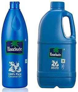 Parachute Coconut Oil Bottle - 600 ml & Coconut Oil, 1 litre Pet Jar Combo