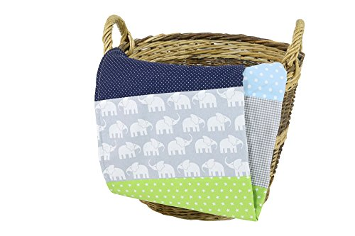 Colcha para bebé de ULLENBOOM ® con elefantes azul verde (manta de...