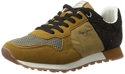 Pepe Jeans London Damen Verona W Flash Sneaker Braun (Tobacco)