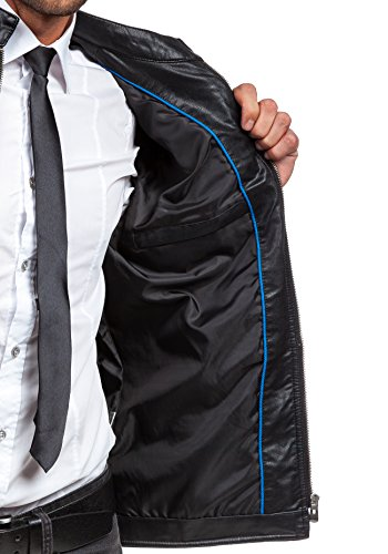 BOLF Herrenjacke aus Kunstleder Sweatjacke Zipper Sweatshirt BLESINGS 159B Schwarz