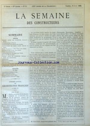 SEMAINE DES CONSTRUCTEURS (LA) [No 51] du 16/06/1888
