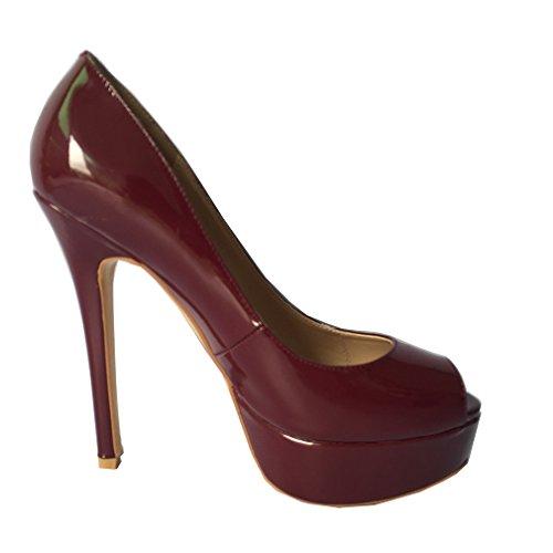 ENMAYER Femmes PU Matière Pompes Couleurs mélangées Hauts talons Slip-on Peep Toe Party Plateforme Stiletto Robe Sexy Chaussures Shallow Vin rouge