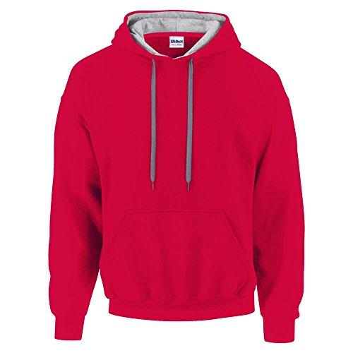 Gildan Herren Kapuzenpullover Contrast Hooded Sweatshirt Rot - Red/Sport Grey